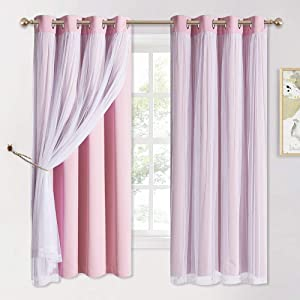 PONY DANCE Blush Pink Curtains - Girls Bedroom Curtains Double-Layered Panels with Free Tie-Backs Solid Blackout Sheer Curtains 63 inches Long, 52 Inch Wide Drapes with Grommet Top, 2 Pieces