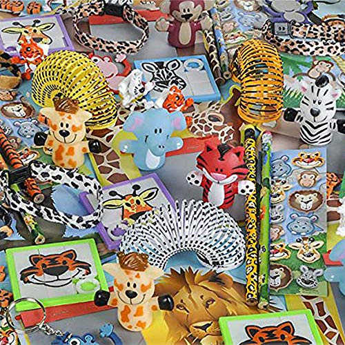 Assorted Animal Toys - Pack of 50 Zoo Animal Assortment - Pencils, Puzzles, Springs, Stickers for Bulk Party Giveaways, Easter Egg Hunt, School Reward ()