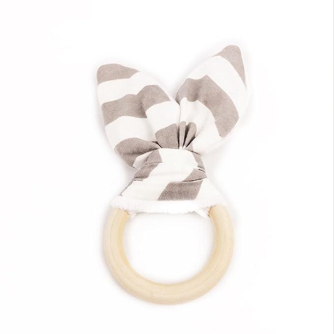 Oído del conejito de la dentición anillo de madera Set de regalo de madera Orgánica Mordedor Eco-Friendly Orgánica de madera anillo de dentición del ...