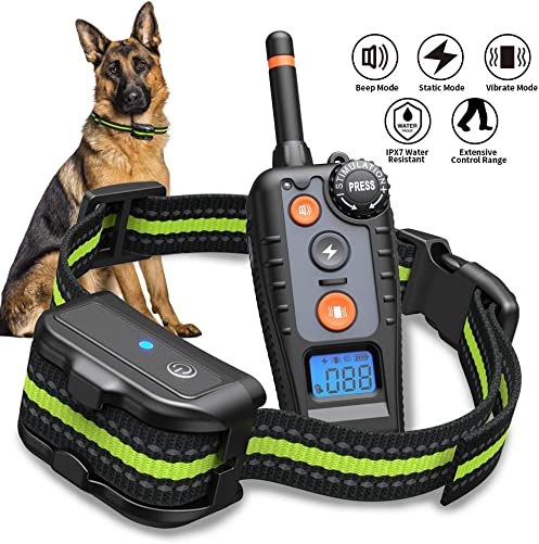 BOIROS Dog Training Collar, Dog Shock Collar with 1000ft Remote, IP67 Waterproof Rechargeable Training Collar with 3 Training Modes Beep, Vibration, Shock , 100 Levels for Small Medium Large Dogs