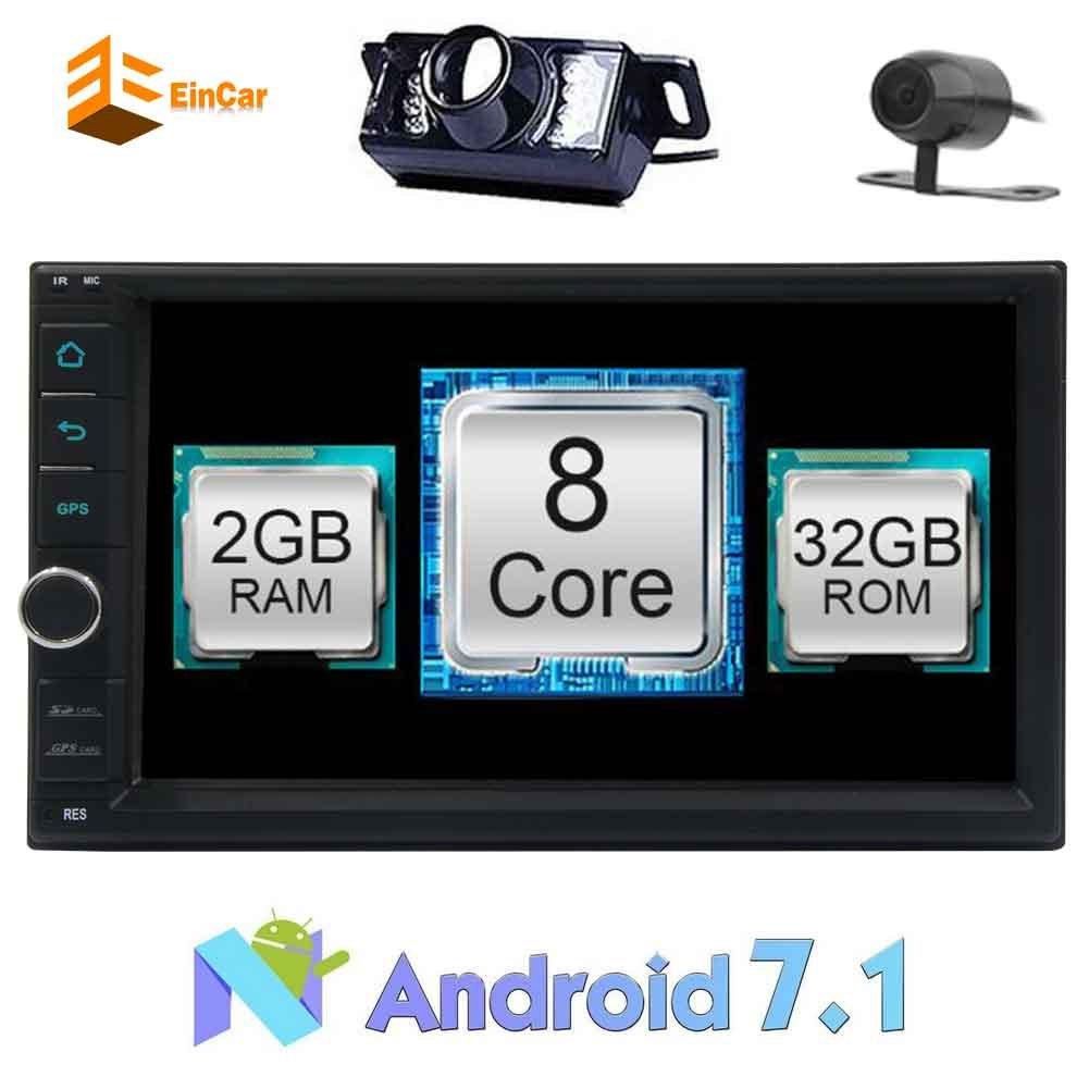 ブルートゥース+フロント&カメラを逆にしてEincar 7インチカーラジオステレオのAndroid 7.1オクタコアダッシュで静電容量マルチタッチスクリーンヘッドユニット2ディンラジオオートGPSナビゲーションのWiFi 1080Pカータブレットオーディオレシーバー B077M5B5RS