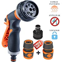 HLDJYB Garden Hose Nossle Spray Gun with 8 Adjustable Patterns Anti-Slip Design High Pressure Spray for Watering plants