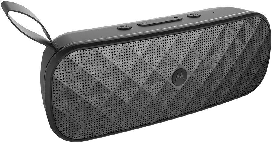 Motorola Sonic Play+ 275 - Altavoz Portatil Bluetooth, Sonido estéreo, Radio FM, Micro SD, Aux-In - IP54 Waterproof - 10 horas de juego | 15 metros de alcance - negro