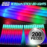 200 PCS Light Up 18'' Foam Sticks LED Wands Rally Rave Batons DJ Flashing Glow Stick