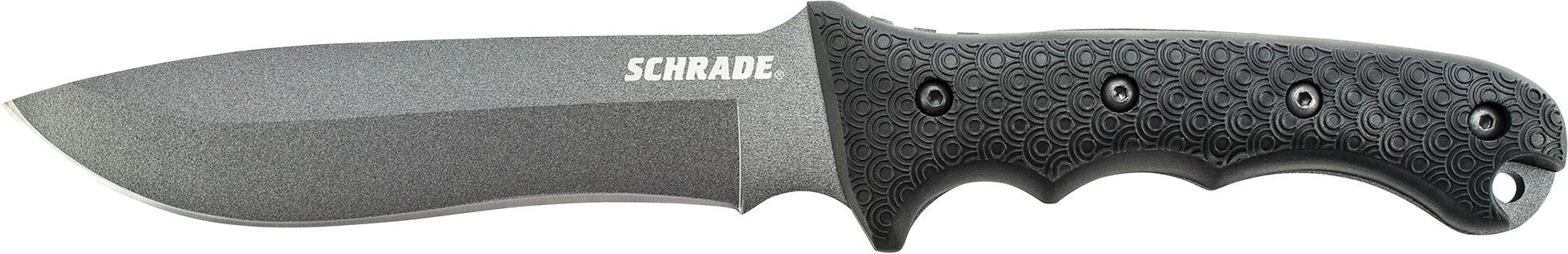Schrade SCHF9 12.1in High Carbon Steel Fixed Blade Knife with 6.4in Kukri Point Blade and TPE Handle for Outdoor Survival, Camping and Bushcraft