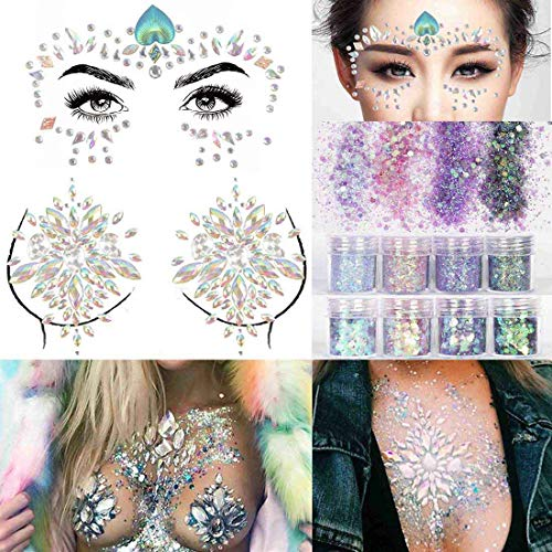 COKOHAPPY 2 Sheets Face & Breast Mermaid Rhinestones Sticker Gem with 8 Boxes 10ml Holographic Chunky Glitter Ultra-thin Colorful Mixed Paillette - Festival Rave Party Jewel Tattoo Set 1 for $<!--$13.99-->