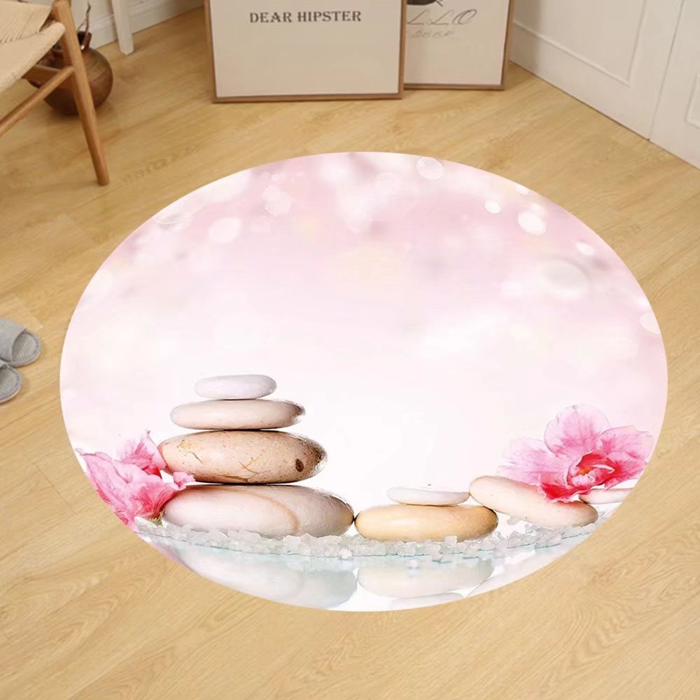 Gzhihine Custom round floor mat Spa Bohemian Zen Stones and Soft Petals Therapy Tradition Yoga Asian Picture Bedroom Living Room Dorm Light Pink Peach