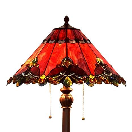 Bieye L30242 Lámpara de pie de vidrio coloreado estilo Tiffany barroco de 17 pulgadas, 65 pulgadas de altura, rojo