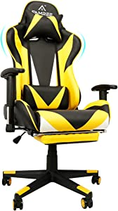 Gaming Chair Upgraded, Widened Cushion Thick PU Leather, Racing Style Office Computer Chair Massage Ergonomic PC Chair with Lumbar Pillow Headrest Armrest Footrest Adjustable Swivel High-Back