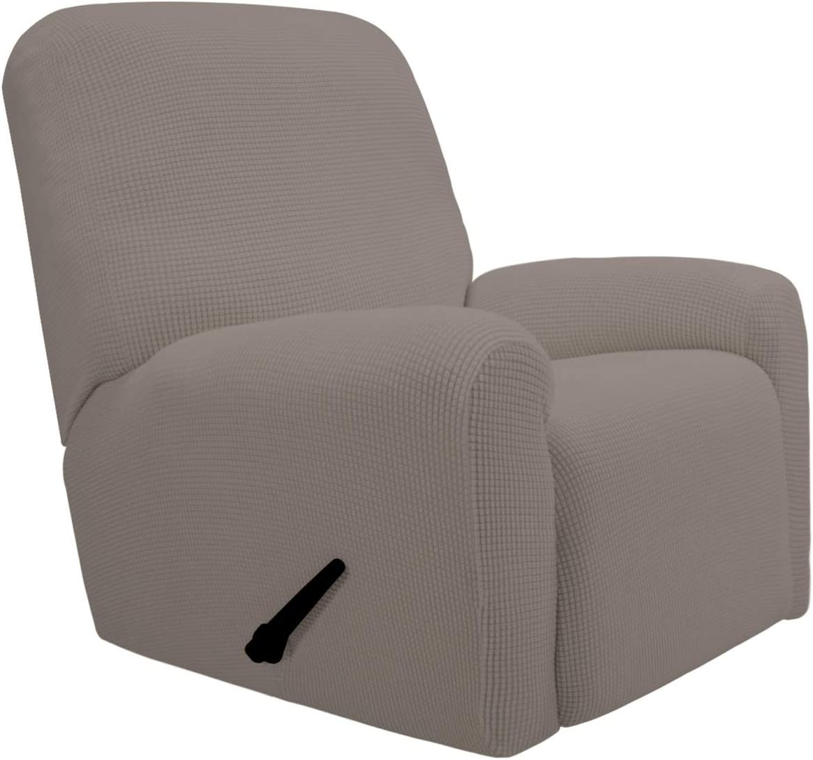PureFit Stretch Recliner Sofa Slipcover with Pocket – Spandex Jacquard Non Slip Soft Couch Sofa Cover, Washable Furniture Protector with Elastic Bottom for Kids (Recliner, Taupe)