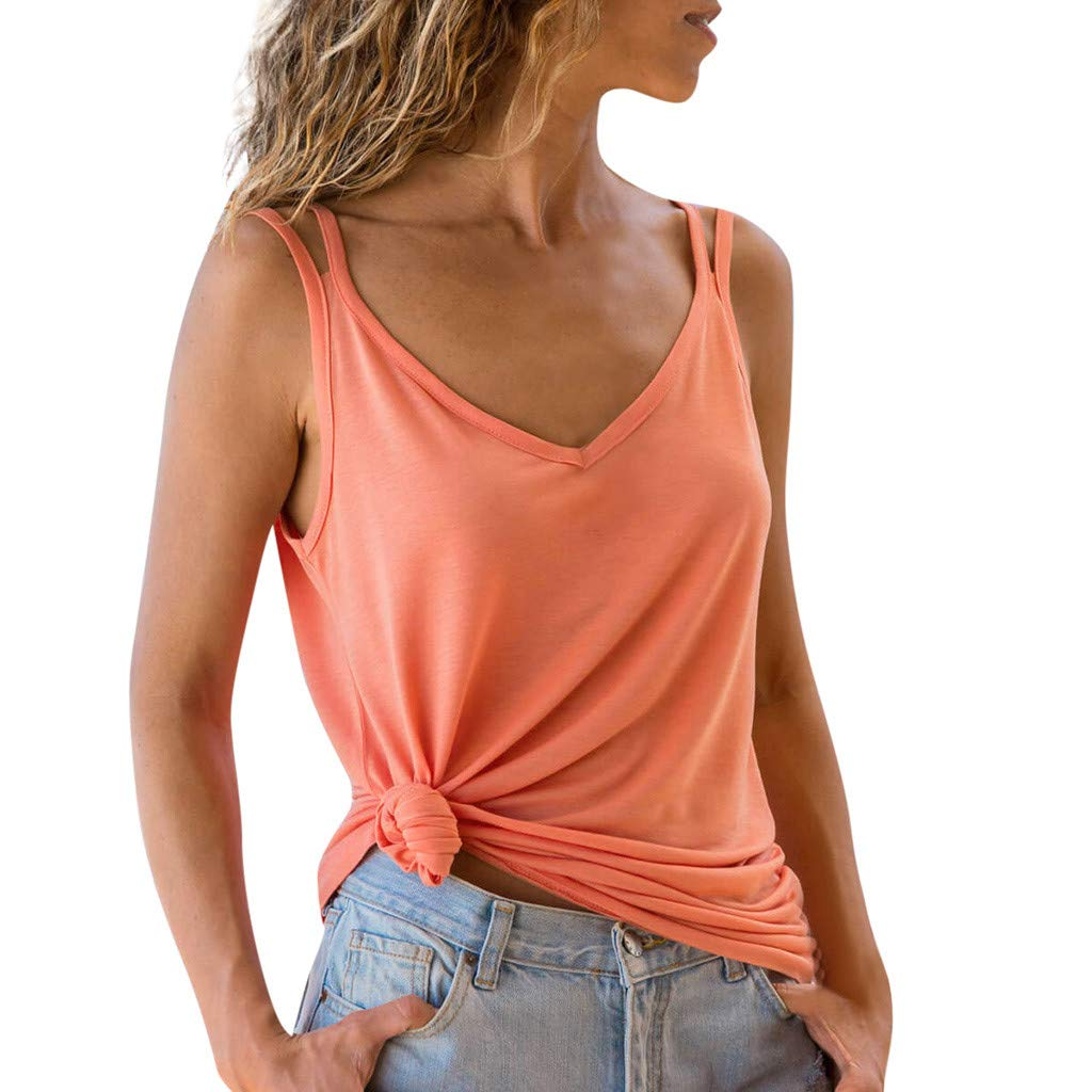 YFancy Womens Ladies Summer Tank Tops Fashion Casual Loose Natural Soild Color Beach Sleeveless Vest Blouse Top