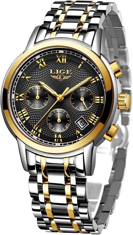 LIGE Watch for Men Fashion Elegant Full Steel Sport Quartz Watch Chronograph Waterproof Watch Man Luxury Date Calendar Business Gents Male Dress Watches Casual Silver Blue