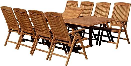 Edle teca XXL jardín Mobiliario de jardín muebles de jardín mesa extensible 180 – 240 cm + 8 sillas con respaldo alto Tobago Madera barnizada de as de S: Amazon.es: Jardín