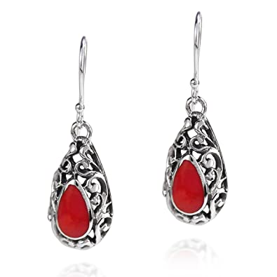 a90fb6121 Amazon.com: .925 Sterling Silver Reconstructed Red Coral Filigree ...