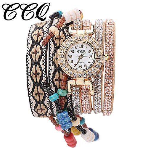 (Women Wrist Watch Hosamtel Fashion Rhinestone Weaved Rope Band Bracelet Quartz Dial Watch (Beige))