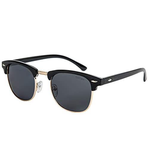 Dollger Clubmaster Occhiali da sole UOMO donna Telaio semi-senza montatura con occhiali da sole in metallo Rivetti