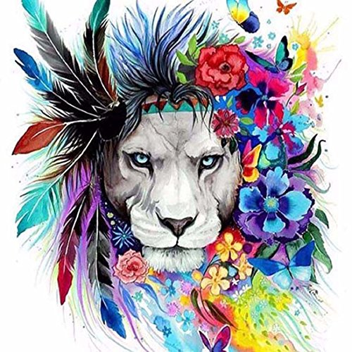 21secret 5D Diamond Diy Painting Full Drill Handmade Mystical Tribal Flower Colorful Lion Cross Stitch Home Decor Embroidery Kit