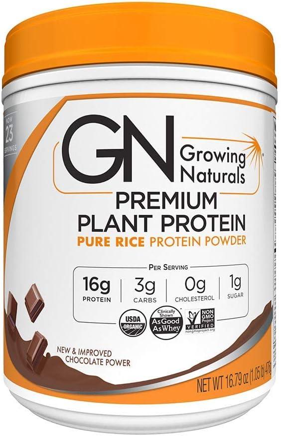 Growing Naturals   Organic Premium Plant Based Protein, Pure Rice Protein Powder   Chocolate Power   Non-GMO, Vegan, Gluten-Free, Keto Friendly, Shelf-Stable   1LB: Health & Personal Care
