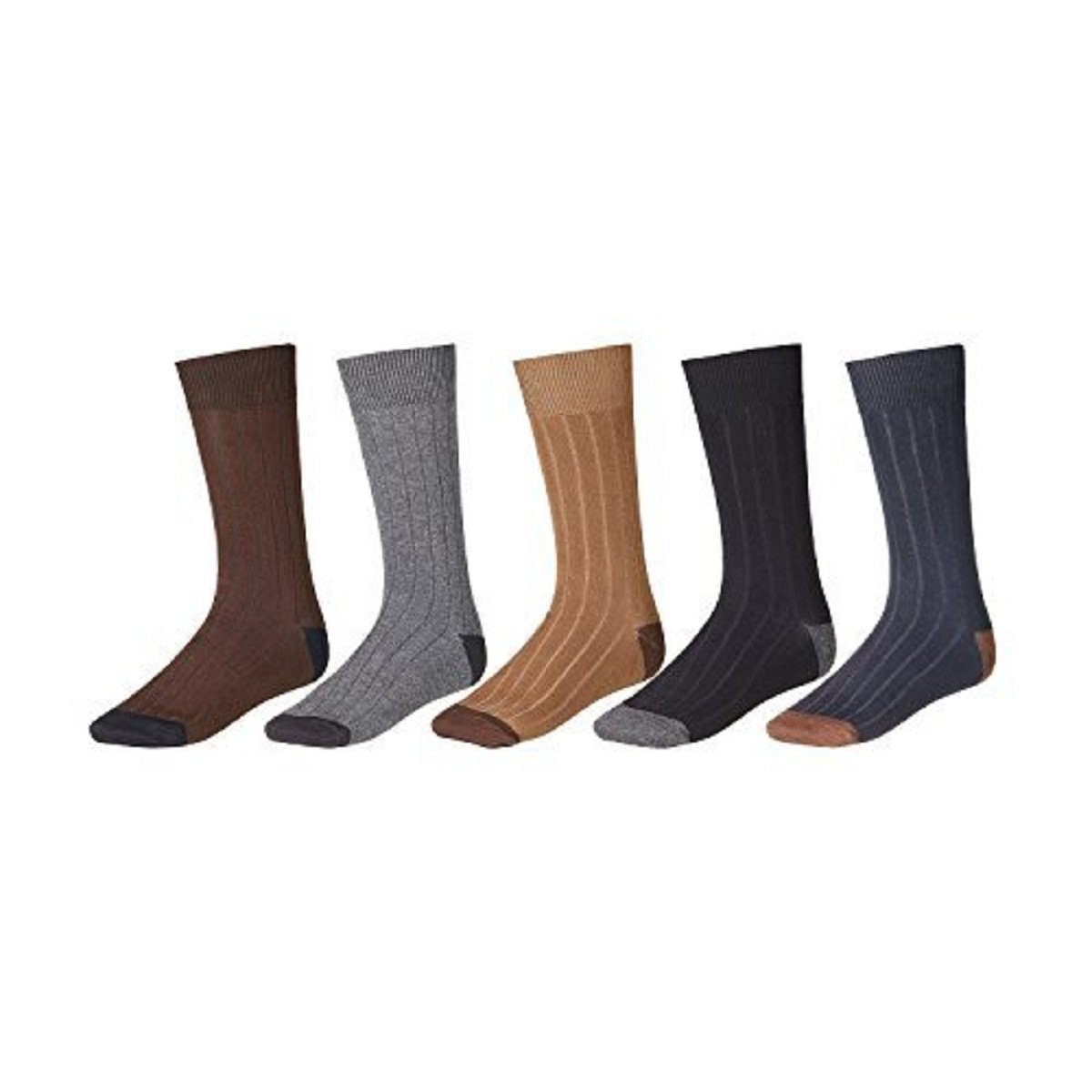 12 Pair Easy Match Men's Rayon Blend Dress Socks by Slick Socks (Black, Navy, Tan, Gray, Brown)