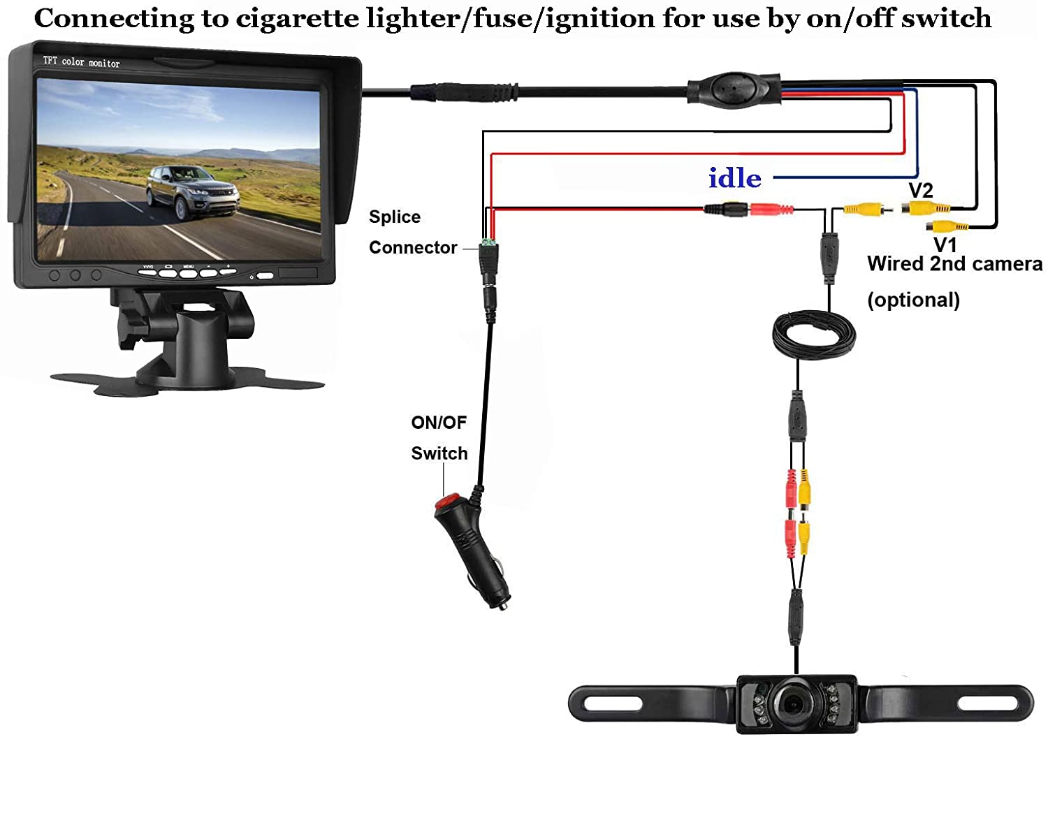 Leekooluu Backup Camera And 7 Monitor Kit For Car Truck Adapter As Well Wiring Diagram On 4 Flat Trailer Mpv Van Pickup Camper Connecting Single Power Rear View System Reverse Continuous Use