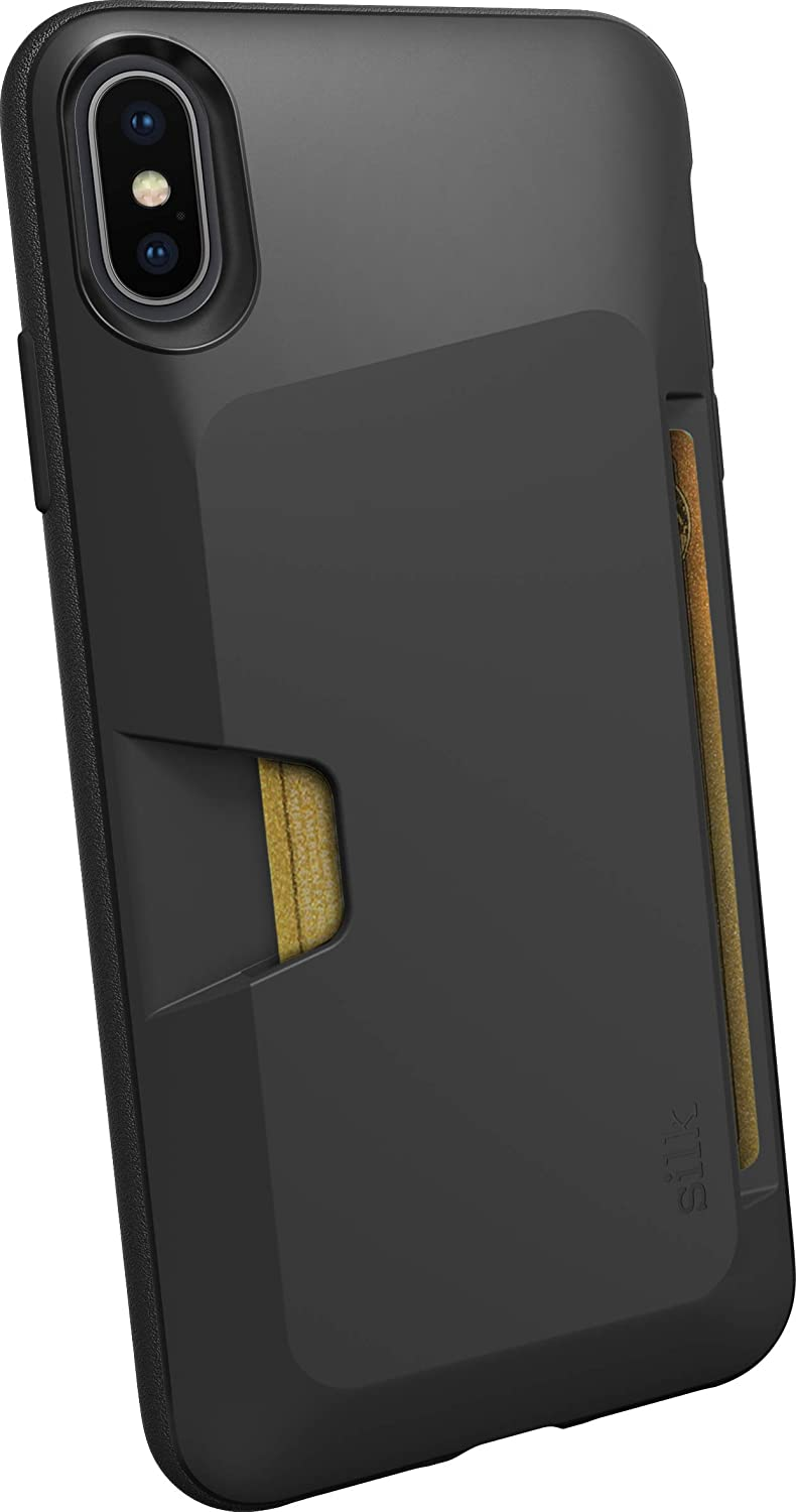 Smartish iPhone Xs Max Wallet Case - Wallet Slayer Vol. 1 [Slim + Protective] Credit Card Holder for Apple iPhone 10S Max (Silk) - Black Tie Affair