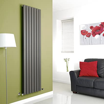 Hudson Reed TDRASP24 - Radiador Calentador Mural Diseño Vertical Doble en Acero - Acabado Gris Antracita