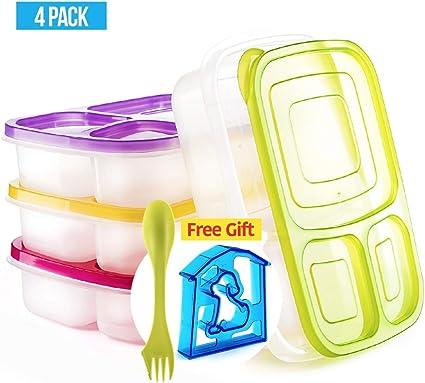 Amazon.com: Bento Lunch Box 3 Compartimento Alimentos ...