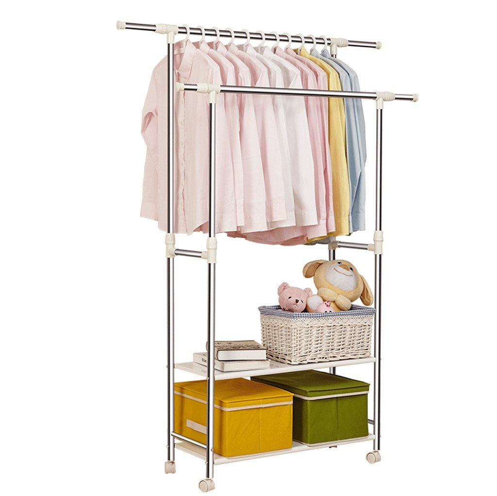 DGF Drying Rack, Indoor Double Bar Stainless Steel Lift Up And Down Hanger (L82-138cm W42cm H90-160cm) Adjustable ( Size : L82-138cmW42cmH90-160cm )