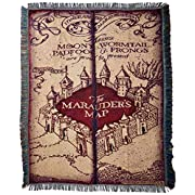 Warner Brothers JK Rowling Harry Potter, Marauder's Map  Woven Tapestry Throw Blanket, 48  x 60