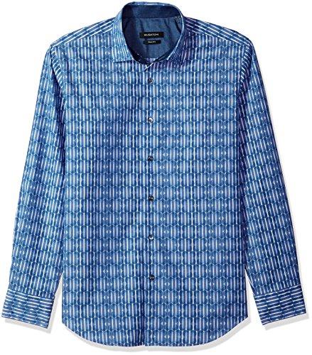 Bugatchi Men's Shaped Fit Pointed Collar Cotton Sport Shirt, Classic Blue, XL
