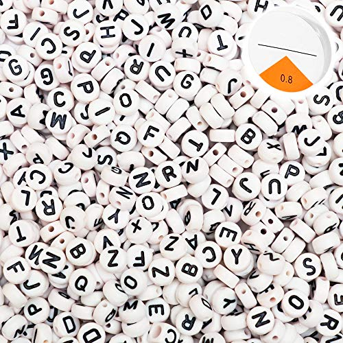 "Top Home Store 600 Pieces White Round Letter Beads Acrylic ""A – Z"" Alphabets for DIY Jewelry Making, Bracelets, Kids, Necklaces & Key Chains with Elastic Cord (4x7mm)"