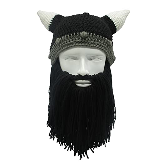 a34f02ddd7a ZGZY For Kids Beard Hat Beanie Knit Pirate Barbarian Warrior Halloween  Christmas Viking Horns Bearded Caps