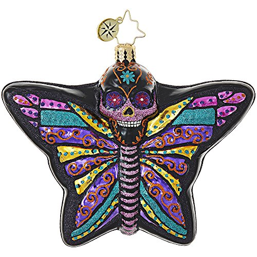 Radko La Calavera Skull Butterfly Deadly Beautiful Glass Ornament Halloween -