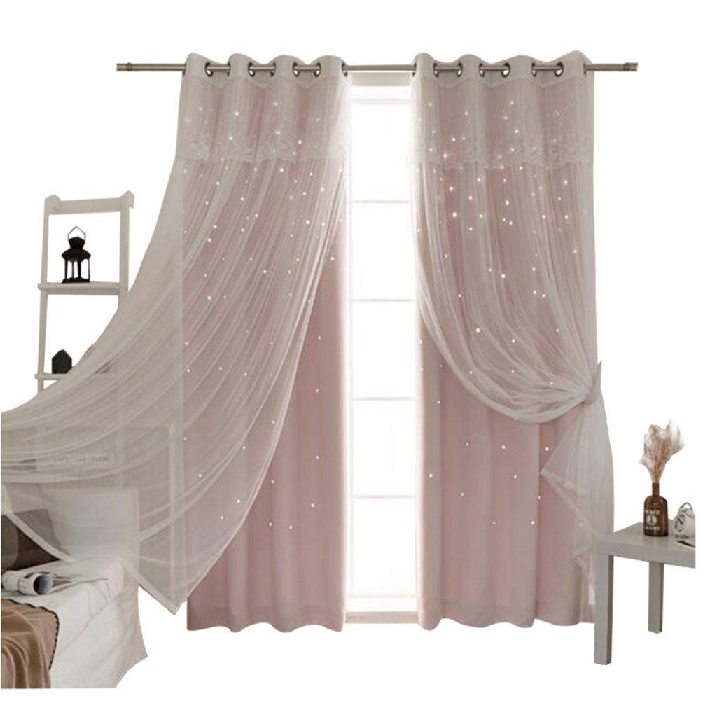 Nclon Prinzessin Vorhänge gardinen,Europäische Licht Blockiert Reine Farbe Sterne Wohnzimmer Schlafzimmer Spitze Voile Vorhänge gardinen-Rosa 1 Panel W200cm*D210cm