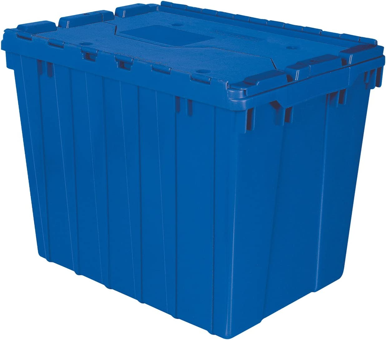 Akro-Mils 39170 Industrial Plastic Storage Tote with Hinged Attached Lid, 21-Inch L by 15-Inch W by 17-Inch H , Blue, 3-Pack