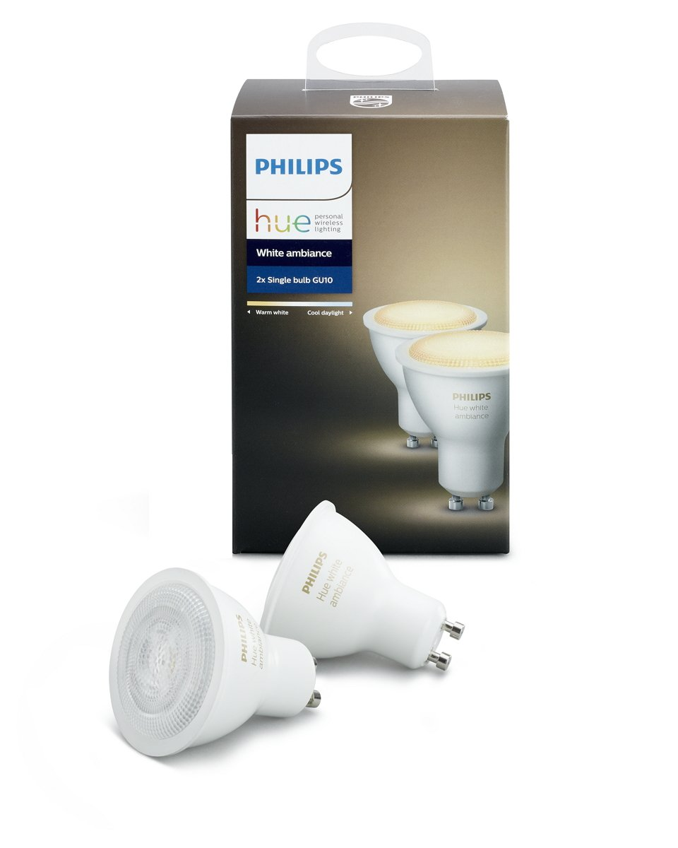 Philips Hue 2-Pack White Ambiance GU10 Dimmable LED Smart Spot Light (Compatible with Amazon Alexa Apple HomeKit and Google Assistant) by Philips Lighting Company (PHDM9)