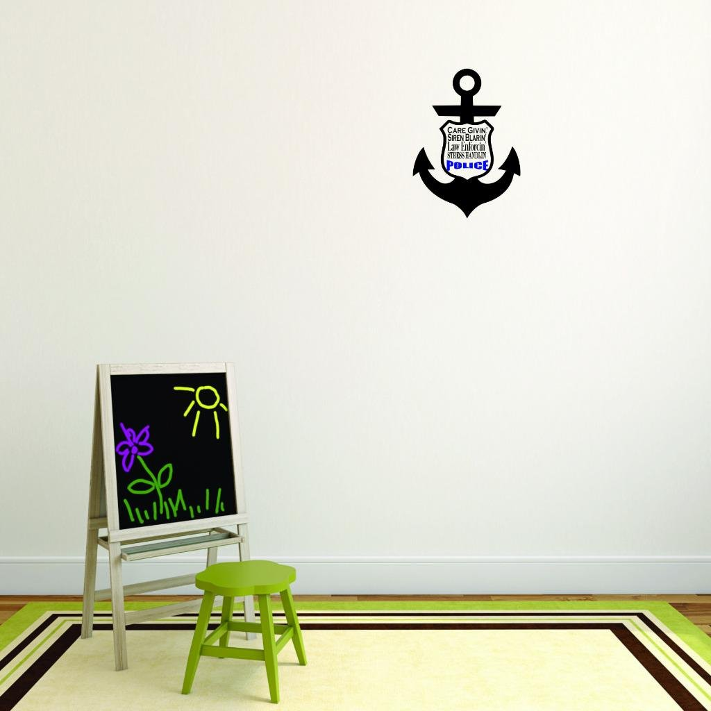 Design with Vinyl Moti 2701 1 Decal Wall Sticker Care Givin Siren Blarin Law Enforcin Stress Handlin Police Law Enforment Cop Officer Squad Color As Seen Size 10 x 20