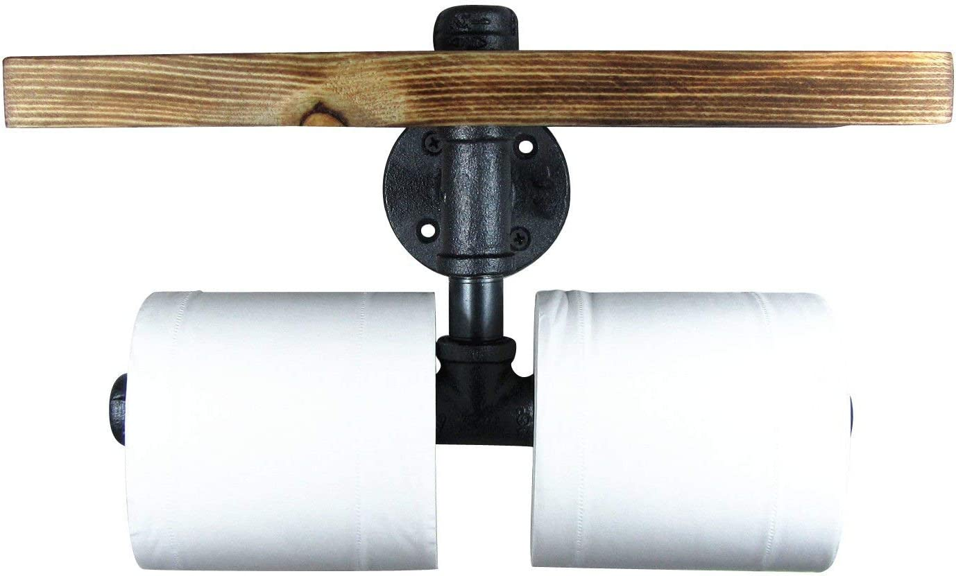 INDUSTRIAL VINTAGE PIPE TOILET ROLL HOLDER WALL MOUNTED