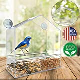 Bird Feeder – Birdhouse – Window or Hanging Bird Feeder – 2in1 functions – Clear Acrylic with Drain Holes Strong Suction Cups – Squirrel Resistant and Weatherproof Design For All Weather – Great Gift Review