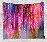 paint colors for living rooms Ambesonne Watercolor Flower Home Decor Tapestry by, Blossom Cluster Background Like Neon Pollination Growth Paint, Wall Hanging for Bedroom Living Room Dorm, 80WX60L Inches, Pink Purple