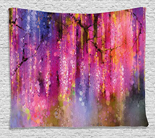 Pink Cluster Flowers - Ambesonne Watercolor Flower Home Decor Tapestry by, Blossom Cluster Background Like Neon Pollination Growth Paint, Wall Hanging for Bedroom Living Room Dorm, 60WX40L Inches, Pink Purple