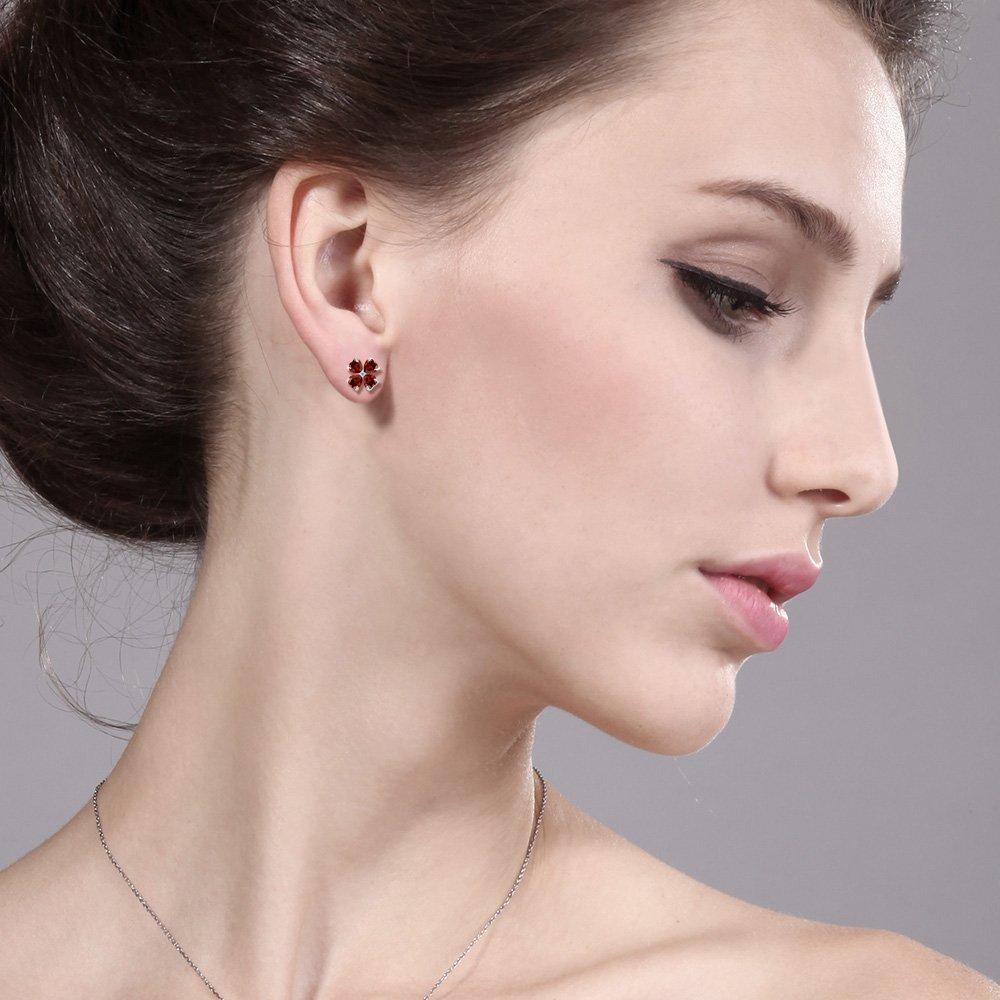 Gem Stone King 1.35 Ct Heart Shape Red Garnet 925 Sterling Silver Earrings