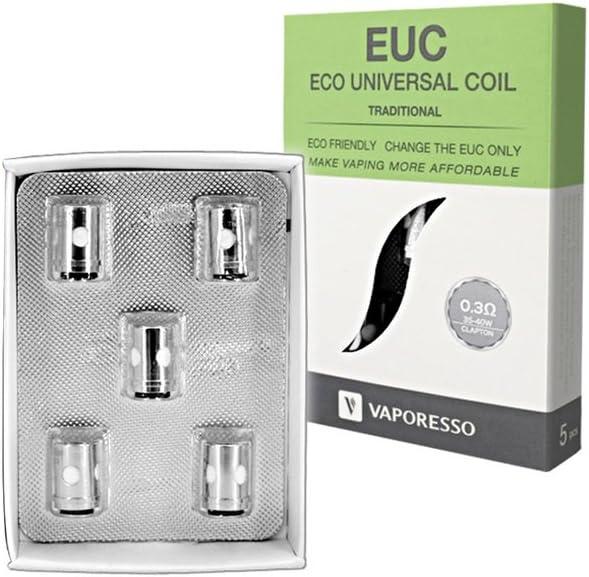 Bobinas EUC Kanthal tradicionales de VAPORESSO - 0.3 Ohms - Paquete de 5 - 35W a 40W - Se adapta a Veco, Estoc, Tarot Nano, Mini, Este producto no contiene nicotina ni tabaco