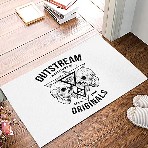 Front Door Entrance Way Doormat Out Stream Williamsburg Skull Door Mats Non Slip Rubber Backing Remove Shoes Rugs Machine Washable Low Profile Carpet 16