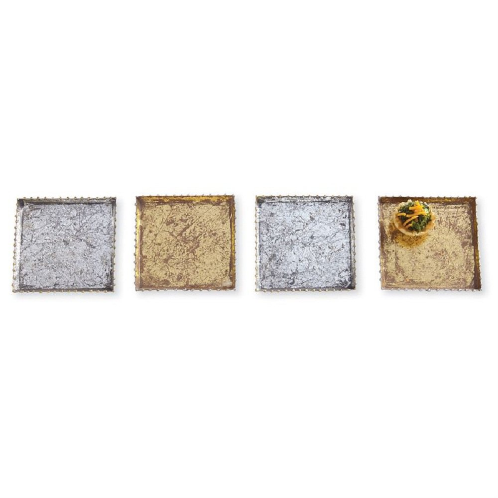 Silver Mud Pie 4266009 Metallic Foil Tray Set of 4 Appetizer Plates One Size Gold