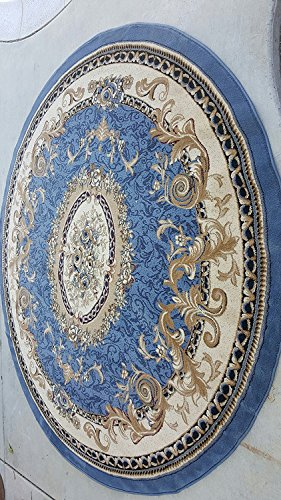 Traditional Round Floral Oriental Aubusson Persian Area Rug Blue Design 602 (4 Feet X 4 Feet )