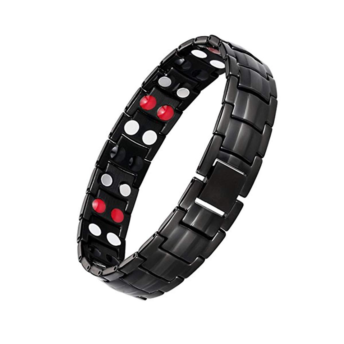 Feraco Magnetic Bracelets for Men Arthritis Relief Pain Health Double Row 4 Elements Strong Magnets, Black