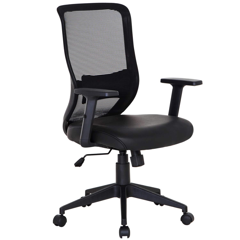 VECELO Home Office Chair for Task Desk Work-Black