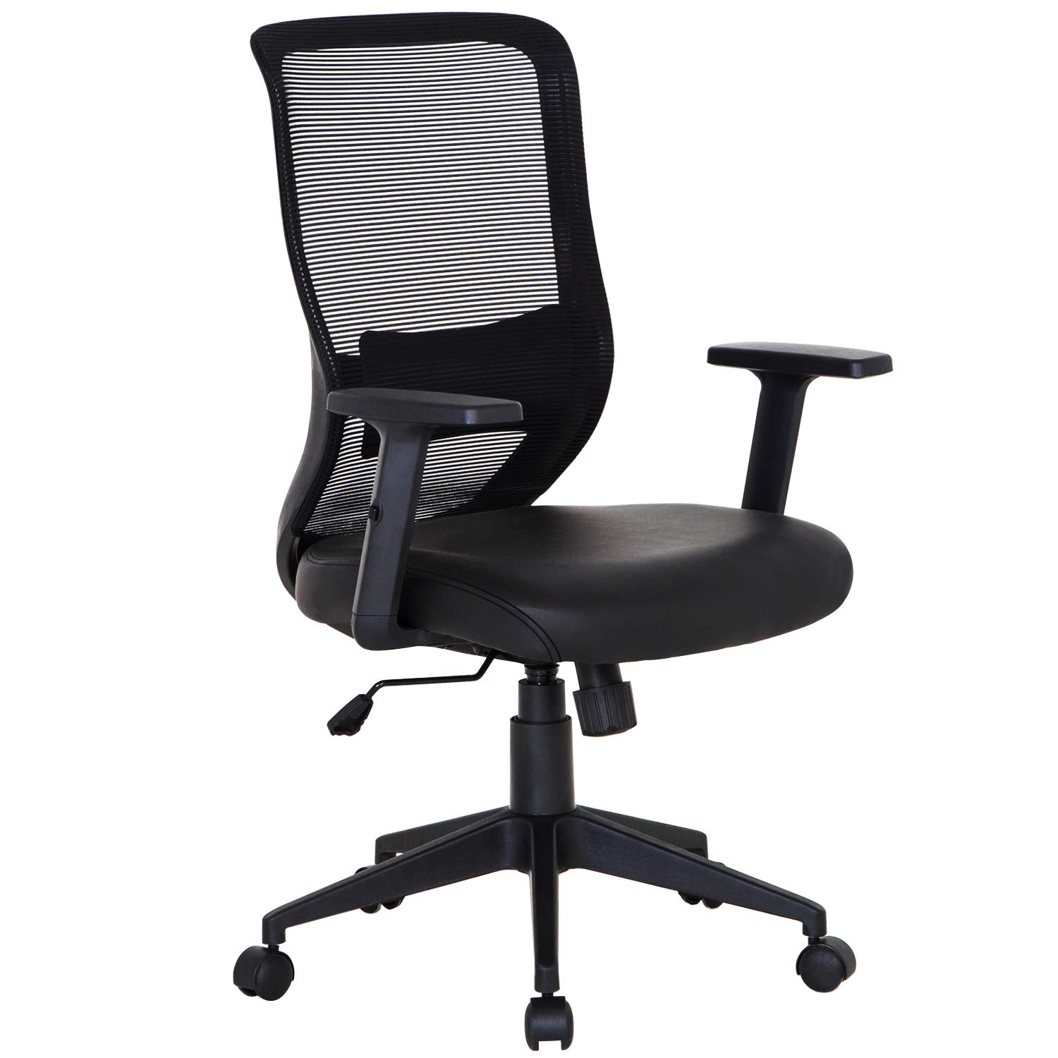 VECELO Pu Cushion Home Office Chair for Task/Desk Work-Black by VECELO