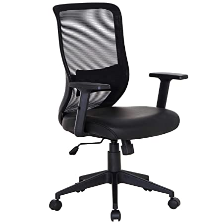 VECELO Pu Cushion Home Office Chair for for Task Desk Work – Black,